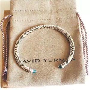 David Yurman Blue Topaz &Diamond Bangle Sz Medium